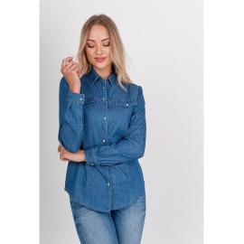 Damska dżinsowa koszula z długim rękawem-jeans
