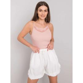 Białe szorty damskie z troczkami