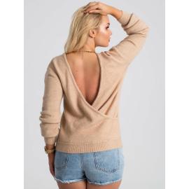 Beżowy sweter plus size z kopertowym dekoltem