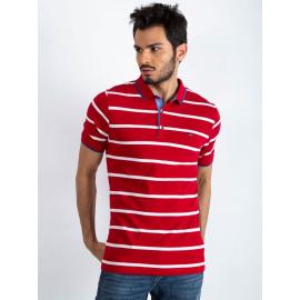 Bawełniana męska koszulka polo w paski czerwona