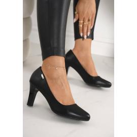 Classic Women's Pumps On A Block Heel Black Eleanor
