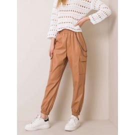 Camelowe spodnie faux leather