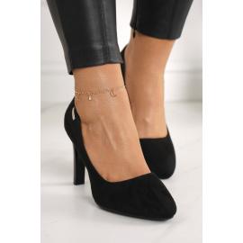 Classic Women's Pumps On A Block Heel Suede Black Eliana